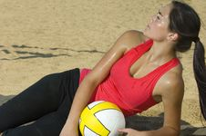 Attractive Female Holding A Basketball Royalty Free Stock Photography