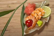 Free Shrimps With Ginger And Wasabi Royalty Free Stock Photos - 21254028