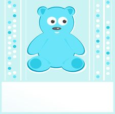 Teddy Bear For Baby Boy Arrival Announcemen Royalty Free Stock Photo