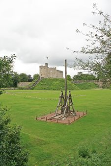 Free Cardiff Castle In  Wales With Catapult Stock Photo - 21255520