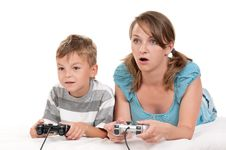 Free Happy Family Playing A Video Game Royalty Free Stock Photo - 21255845