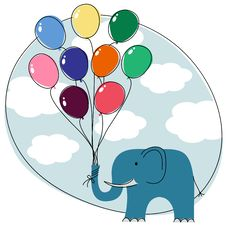 Free Elephant With Balloons Royalty Free Stock Photo - 21255945