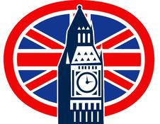London Big Ben British Union Jack Flag Stock Images