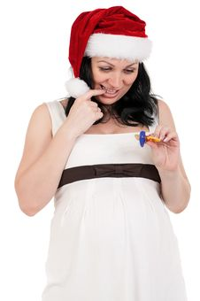 Free Pregnant Woman In Santa Hat Stock Photography - 21256342