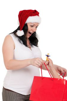 Free Pregnant Woman With Shopping Bags Royalty Free Stock Photography - 21256467