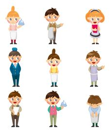 Free Cartoon Waiter And Waitress Icon Stock Image - 21257341