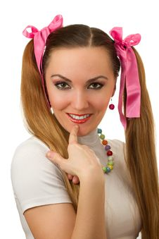 Free Woman With  Vibrant Make-up Wearing Pink Satiny Ri Royalty Free Stock Photography - 21257347