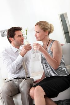 Free Couple Drinking Champagne Stock Photos - 21257363