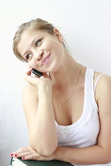 Free Teenage Girl Speaking At The Phone Stock Image - 21257981