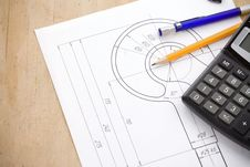 Free Pen And Pencil, Calculator On Hook Crane Stock Photography - 21258002