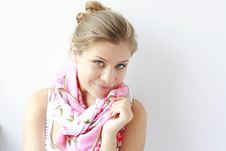 Free Beautiful Woman Smiling Smelling Her Scarf Stock Image - 21258041