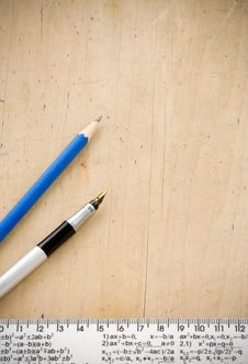 Pen, Pencil And Ruler Royalty Free Stock Photo