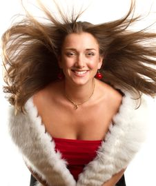 Free European Woman In Red Dress With Furs Stock Photos - 21258533