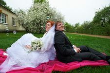 Free Happy Bride And Groom In Garden Stock Photos - 21259413