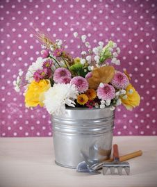 Free Bouquet Of Autumn Flowers In The Iron Pot Stock Photos - 21259503