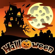 Free Halloween Scenery With Sign 1 Royalty Free Stock Photos - 21259838