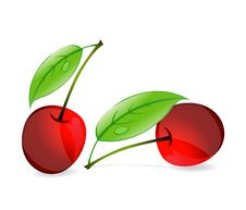 Free Two Red Cherry Sign And Green Leaf Isolated Stock Image - 21259981