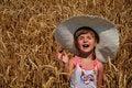 Free Beautiful Girl In A Grain Field Royalty Free Stock Image - 21260816