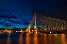 Bangkok Bridge At Night Royalty Free Stock Images