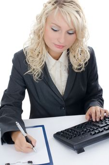Free The Young Girl Behind The Computer Royalty Free Stock Images - 21260529