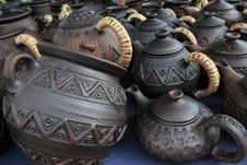 Ware From Clay: Pots, Teapots, Mugs Stock Images
