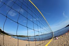 Free Volleyball Net On A Sandy Beach, Detail Stock Photos - 21261673