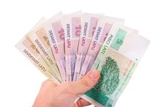 Free Hand With Latvian Money Royalty Free Stock Photo - 21261825