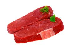 Raw Steaks With Herbs ,isolated On White Stock Images