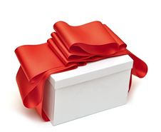 Free A Wrapping Red Ribbon Gift On White Stock Images - 21263384