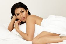 Sensual Woman In Bed-01 Stock Photography