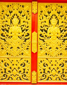Free Thai Traditional Texture On Gate Royalty Free Stock Photos - 21264288