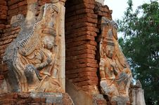 Detail Of Ancient Temple Ruins In Inthein, Myanmar Stock Photos