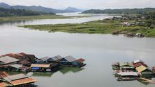 Landscape Scene Of Floating Village On The River Stock Images