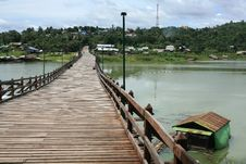 Wooden Bridge And Floating Raft House Royalty Free Stock Images