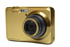 Free Gold Compact Digital Camera Royalty Free Stock Image - 21265976