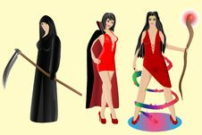 Halloween Set. Vampire, Sorceress, Grim Reaper Royalty Free Stock Photo