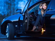 Free Lady In A Car Royalty Free Stock Image - 21266316