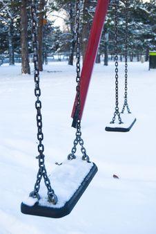 Free Empty Children Swings In A Winter Park Stock Photo - 21266480