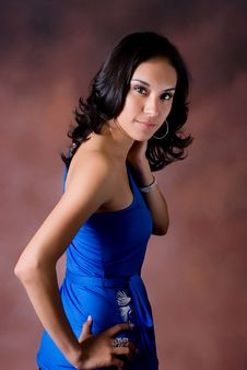 Female Model In Blue Royalty Free Stock Photography