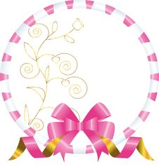 Frame With A Bow And A Gold Flower Stock Images
