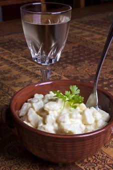 Free Potato Salad And Wine Royalty Free Stock Photos - 21267798