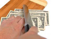 Cutting Us Dollor Stock Photos