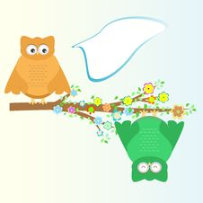 Free A Cartoon Cute Owl Sits On Branch Tree Stock Photos - 21268793