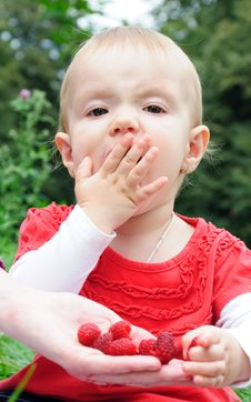 Free Year-old Girl Eating Raspberries Stock Image - 21269091
