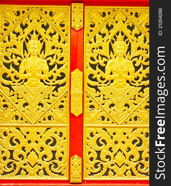 Thai traditional texture on gate