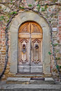 Free Old Wooden Door And Brick Wall Royalty Free Stock Images - 21270129