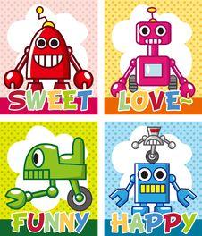 Free Cartoon Robot Card Royalty Free Stock Photo - 21271795