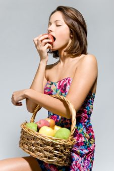 Free Girl With A Basket Of Fruit Royalty Free Stock Images - 21272309