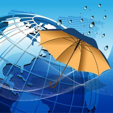 Free Globe Under The Umbrella Royalty Free Stock Photography - 21272497