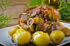 Pork Knuckle And Beer Stock Photography
